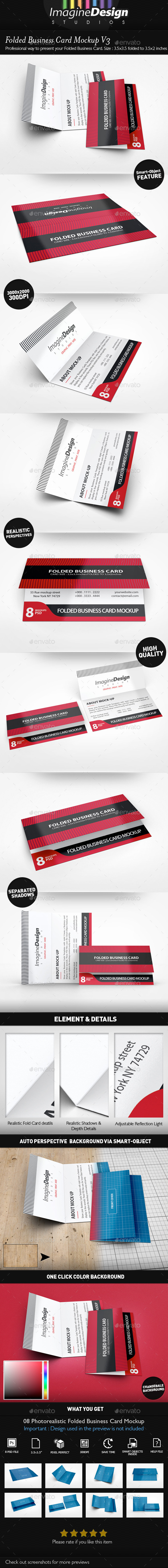 Folded Business Card Mockup V3 - Business Cards Print