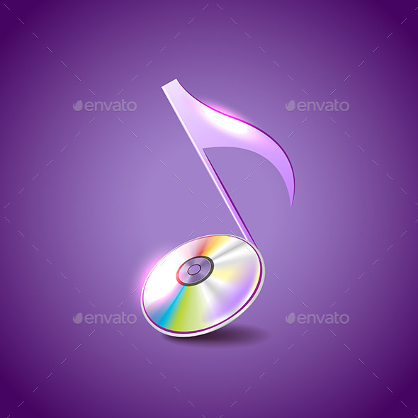 Music Note Like Compact Disc Vector Background - Media Technology