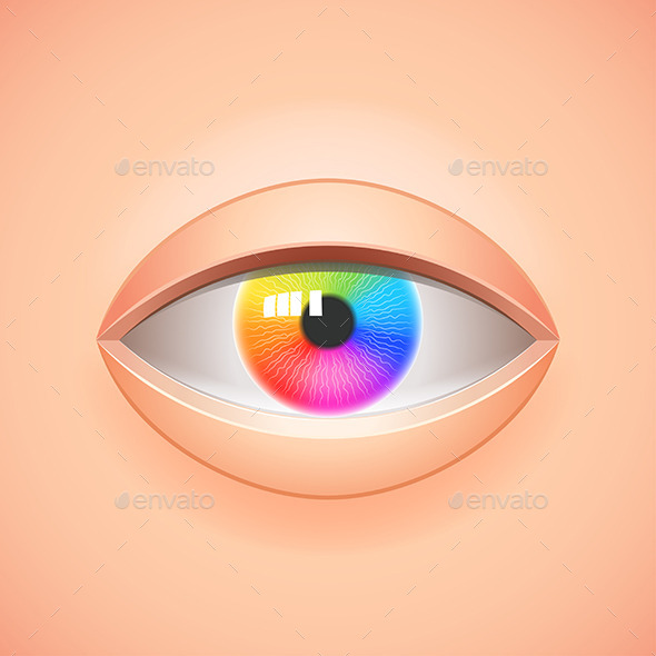 Human Eye With Rainbow Iris Vector Background - Health/Medicine Conceptual