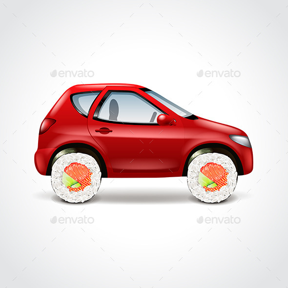 Sushi Delivery Car Concept Vector Illustration - Food Objects