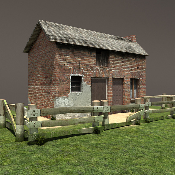 Derelict House Barn Low Poly  - 3DOcean Item for Sale