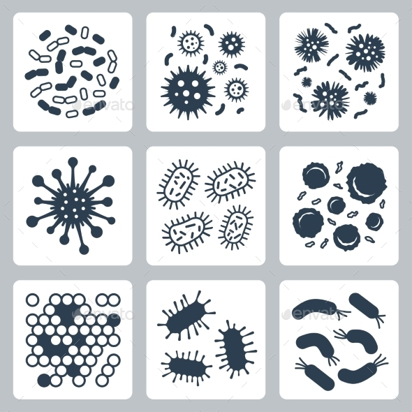 Vector Bacteria, Microbes Icon Set - Icons