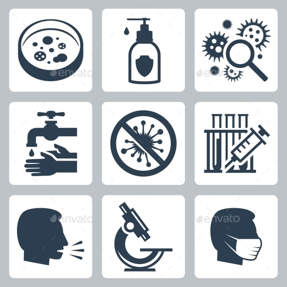 Infection, Virus Related Vector Icon Set - Icons