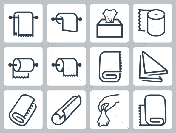 Vector Icon Set Of Towels, Napkins And Paper - Icons