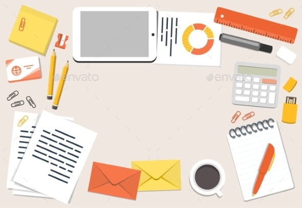 Illustration of Office Desk and Stationary - Man-made Objects Objects