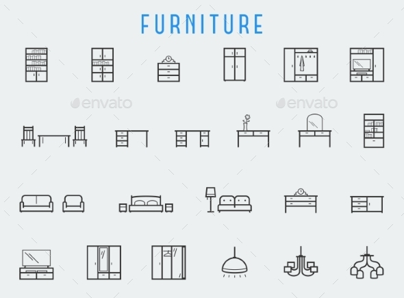 Furniture Icon Set In Line Style - Icons