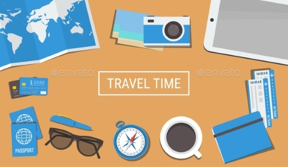 Traveler Desktop with a Camera and Plane Tickets - Travel Conceptual