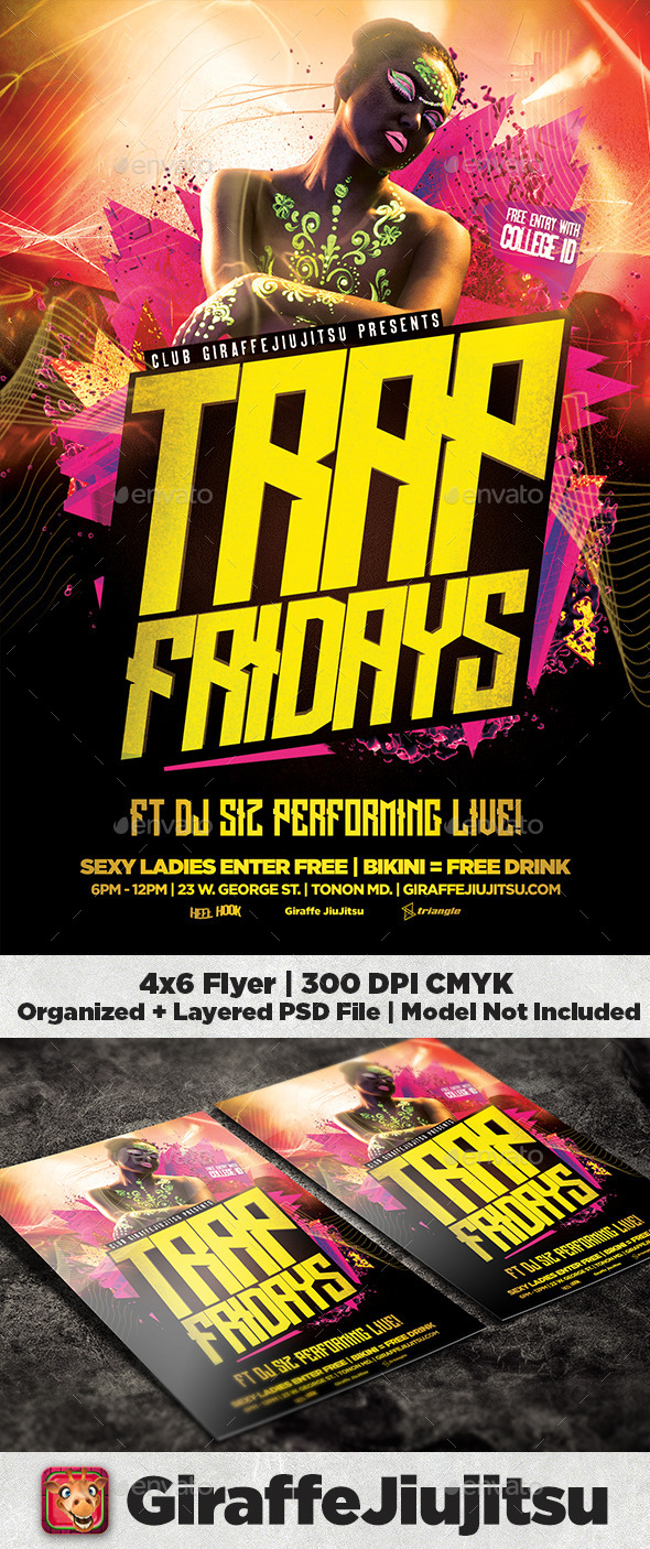Trap Fridays Flyer Template - Clubs & Parties Events
