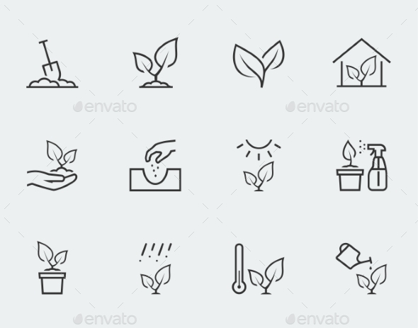 Plant Related Vector Icon Set In Outline Style - Icons