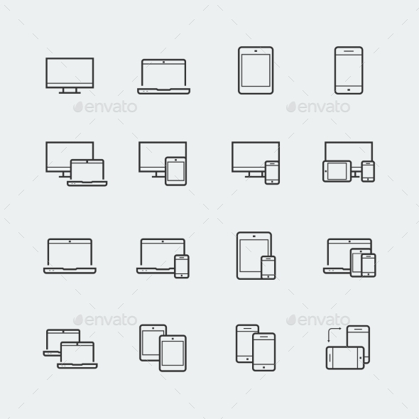 Responsive Web Design Icons For Computer Monitor - Technology Icons