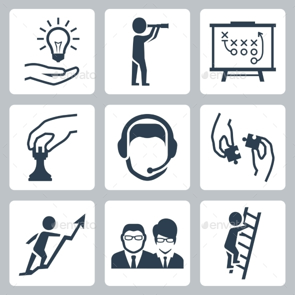 Vector Conceptual Icon Set Of Success Business - Icons