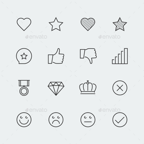 Icon Set Of Social Media Labels For Rating - Icons