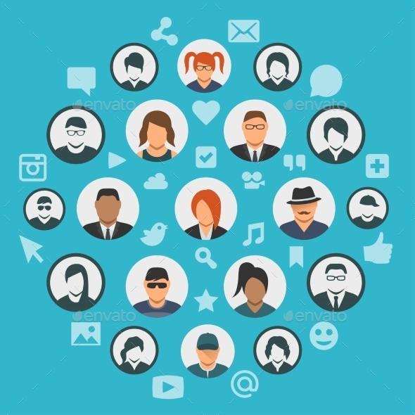 Conceptual Illustration Of Social Media Cloud - Communications Technology