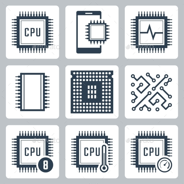 CPU And Electronic Chip Vector Icon Set - Icons