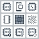 CPU And Electronic Chip Vector Icon Set - GraphicRiver Item for Sale