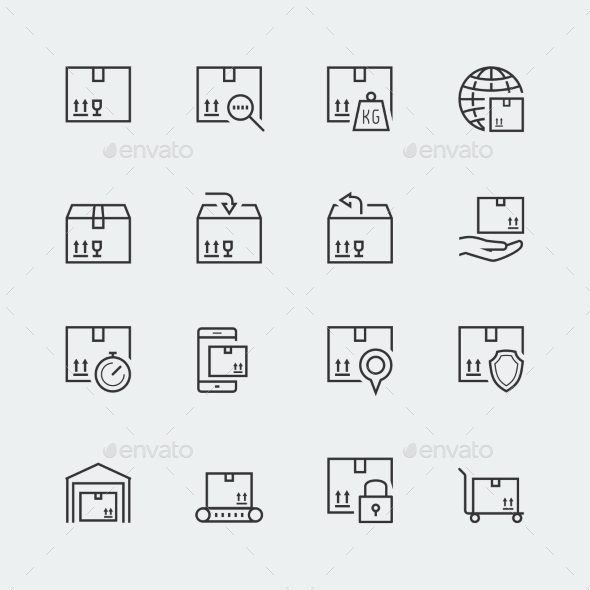 Icon Set Of Packaging And Shipping - Icons