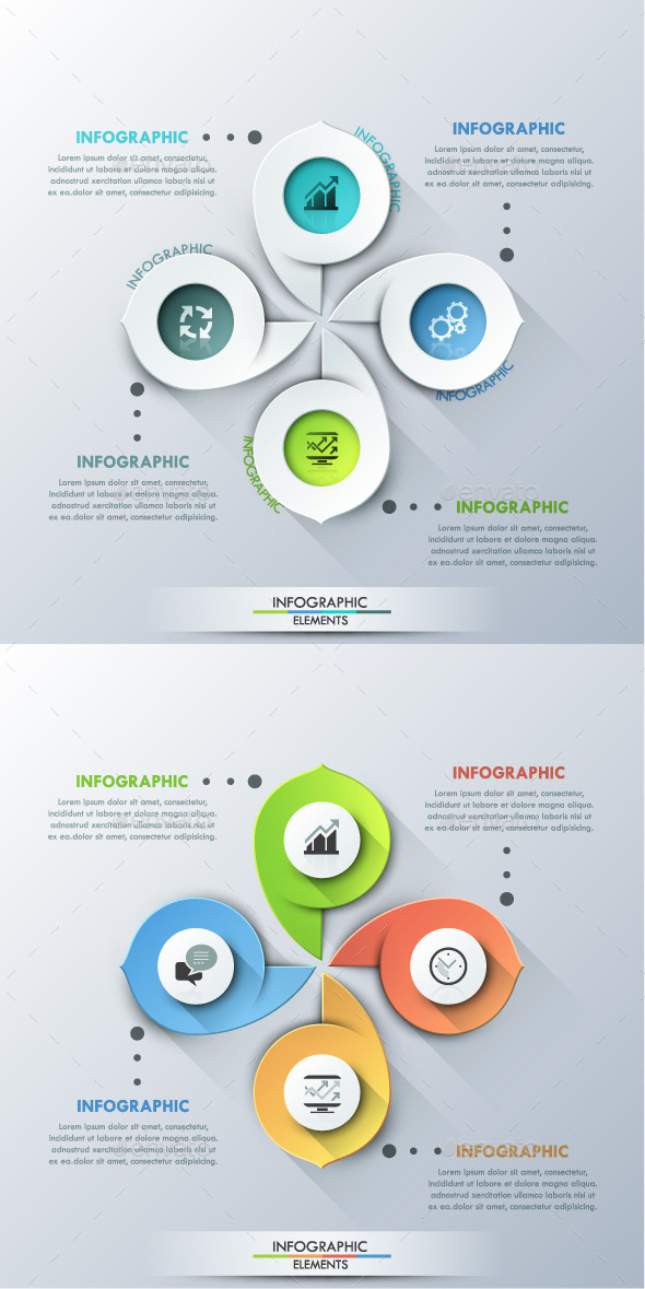Modern Infographic Cycle Template (2 Colors) - Infographics