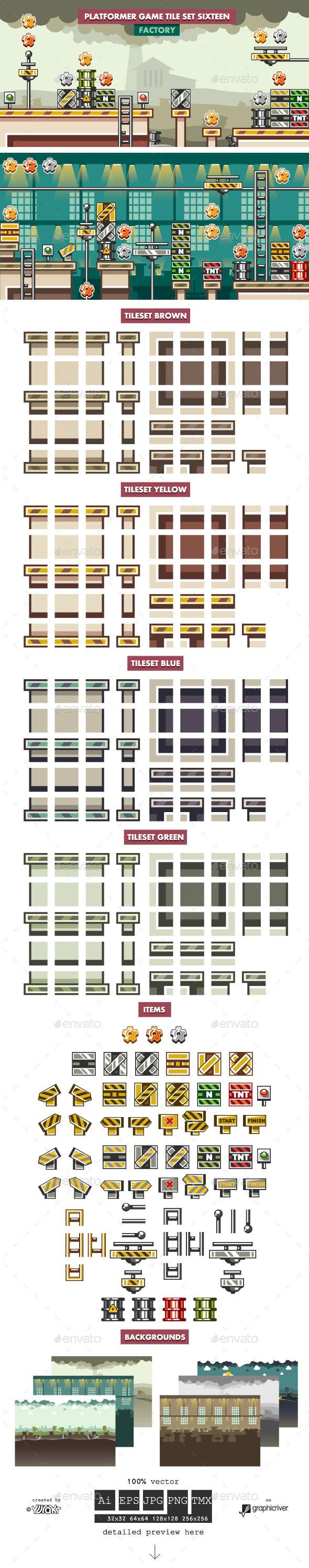 Platformer Game Tile Set Sixteen - Tilesets Game Assets