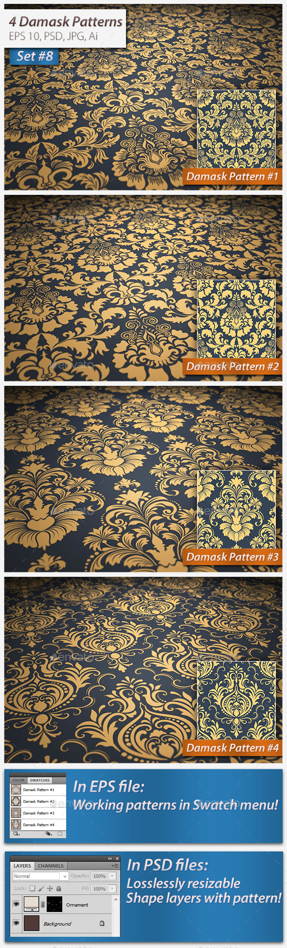 Seamless Damask Patterns Set 8 - Patterns Decorative