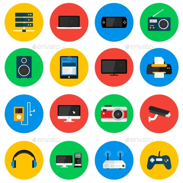 Devices Circle Icons - Technology Icons