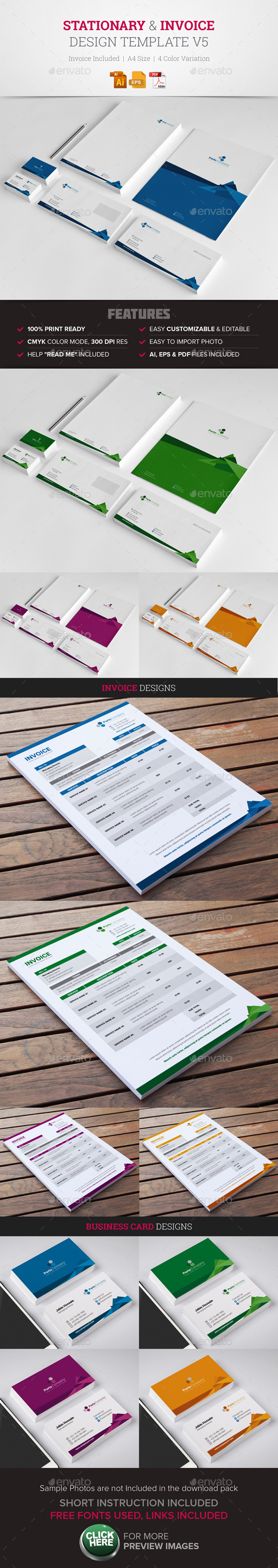 Stationary & Invoice Design Template v5 - Stationery Print Templates