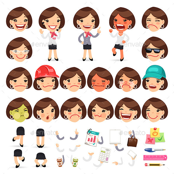 Set of Cartoon Female Manager Characters - People Characters