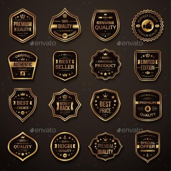 Set of Retro Gold and Black Quality Badges - Decorative Symbols Decorative