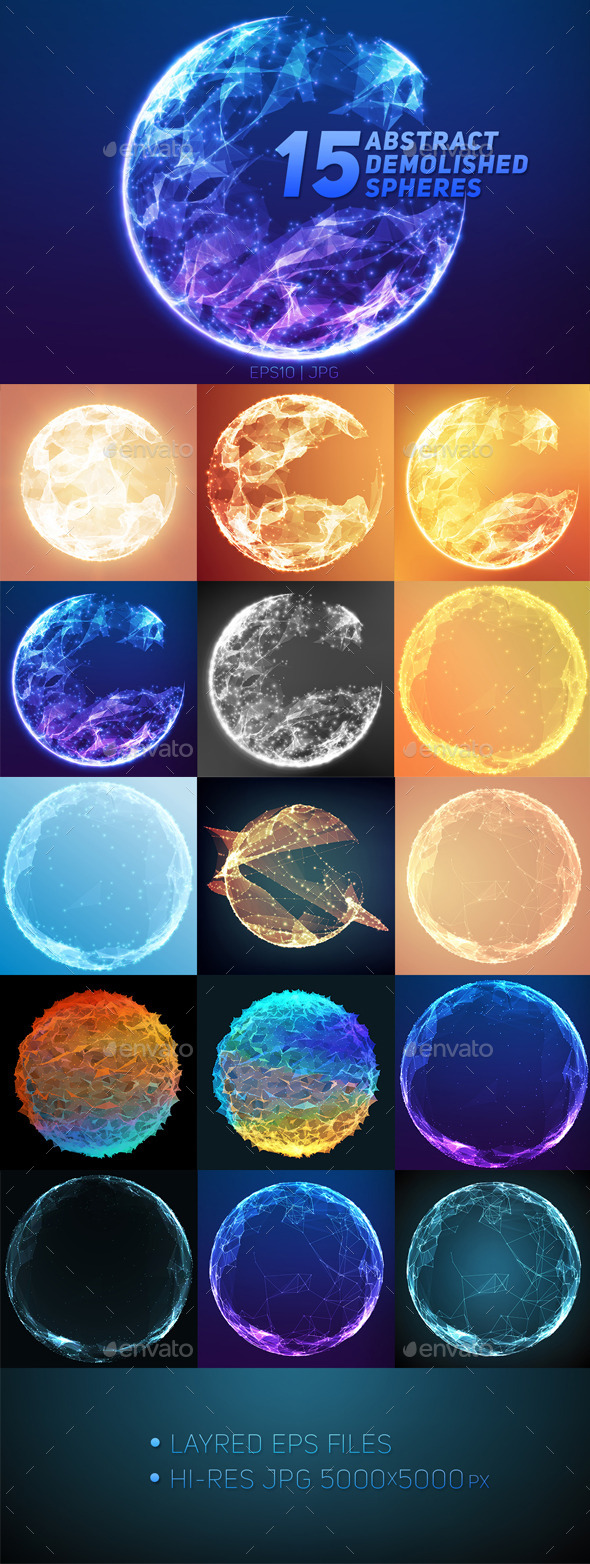 15 Abstract Demolished Spheres - Technology Conceptual