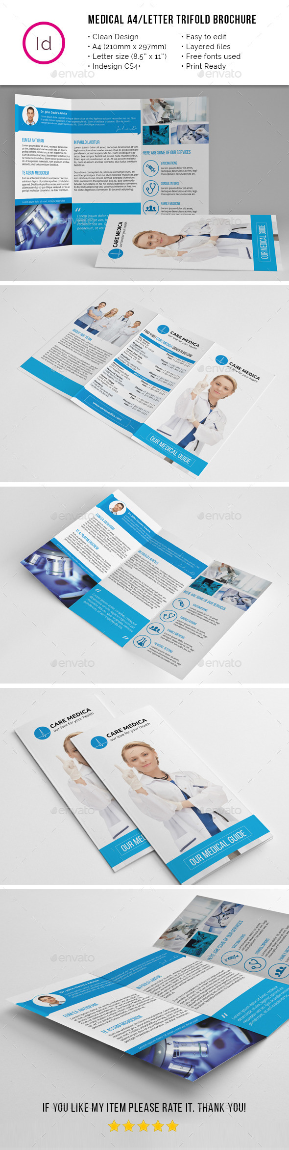 Medical A4 / Letter Trifold Brochure - Corporate Brochures