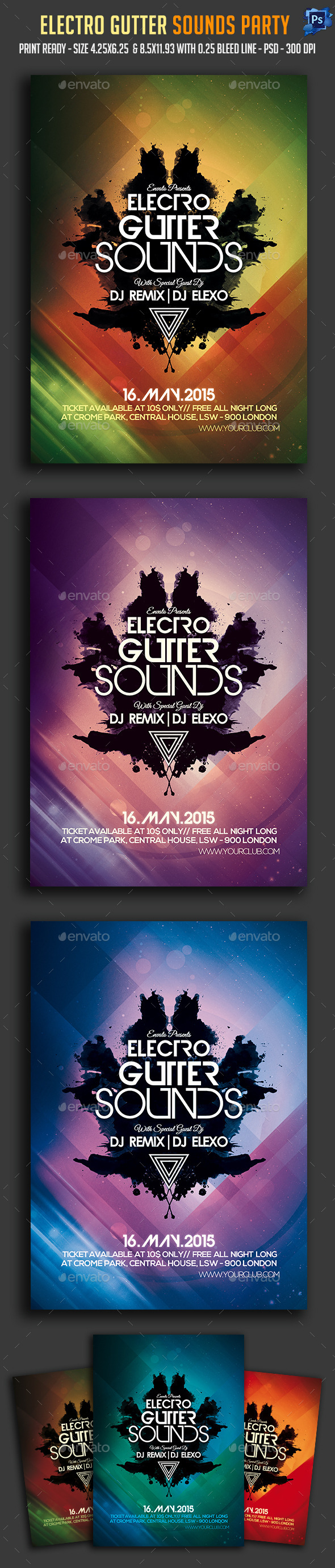 Electro Gutter Sounds Party Flyer  - Clubs & Parties Events