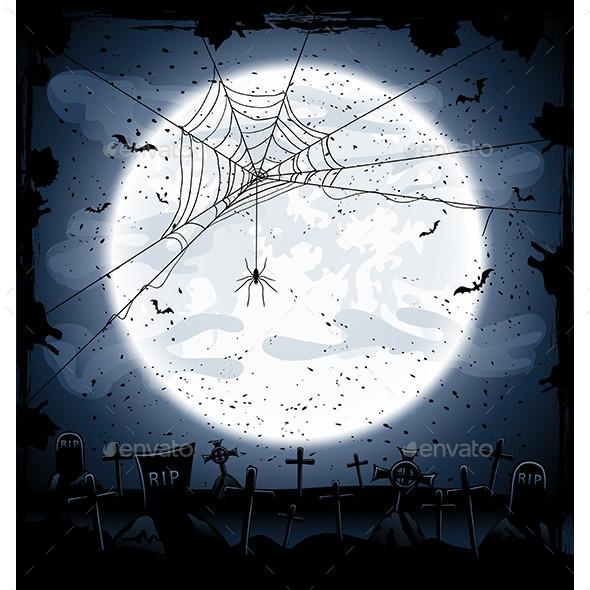 Halloween Background with Spider - Halloween Seasons/Holidays