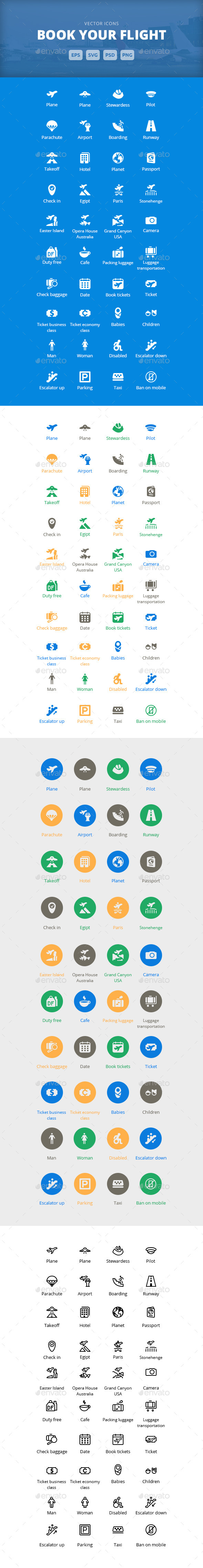 Book Your Flight - Vector Icons - Icons