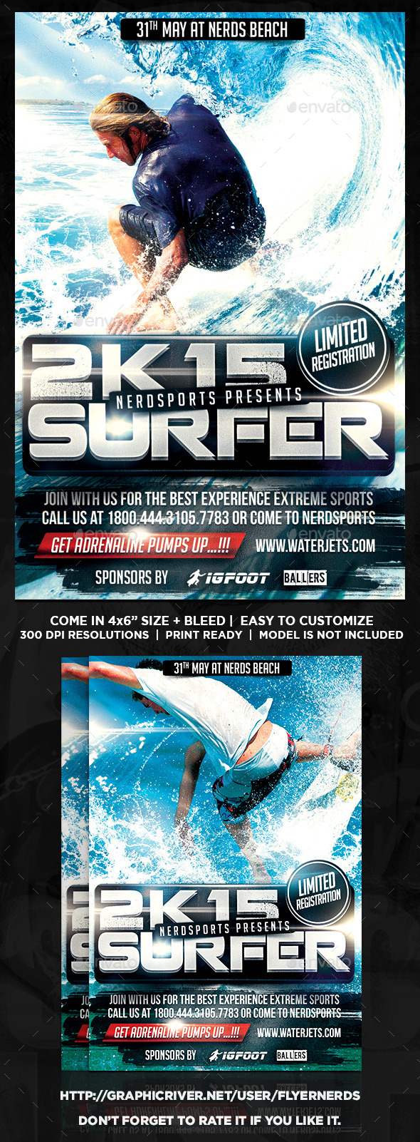 Surfing 2K15 Championships Sports Flyer - Sports Events