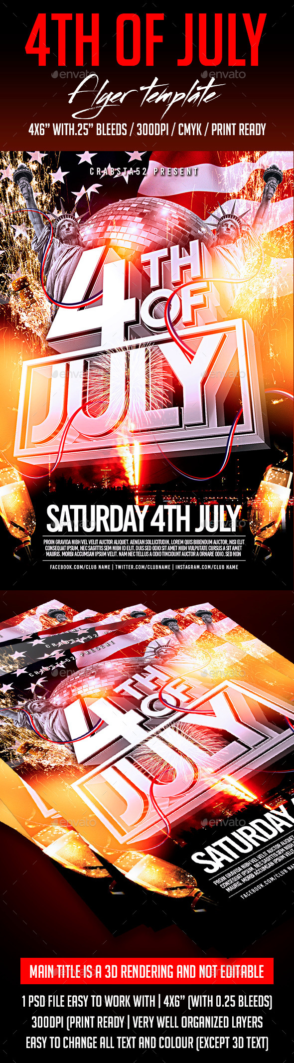 4th of july flyer template by crabsta52 graphicriver for 4th of july menu template