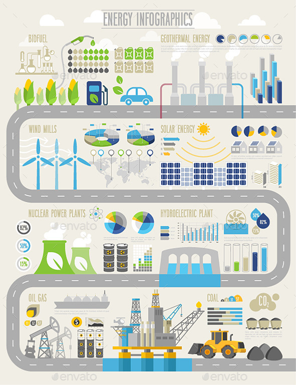 Energy and Ecology Infographic Set  - Industries Business