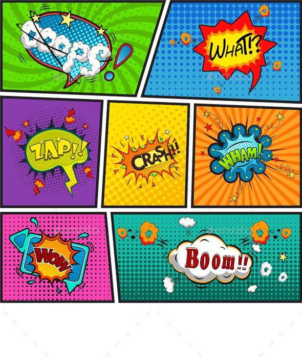Comic Speech Bubbles Background - Backgrounds Decorative