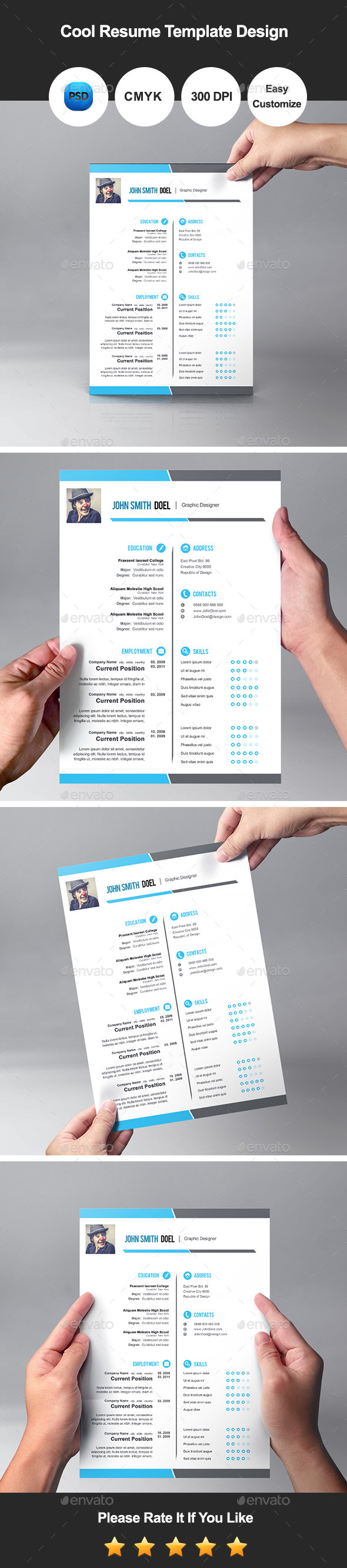 Premium Cool Resume Template Design By Graphicsdesignator  Graphicriver