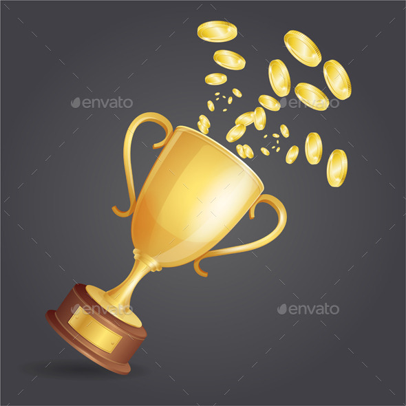 Golden Winner Cup and Coins on Dark - Sports/Activity Conceptual
