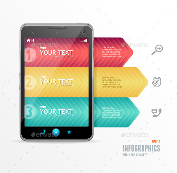 Smartphone with Infographic Option Banner - Concepts Business