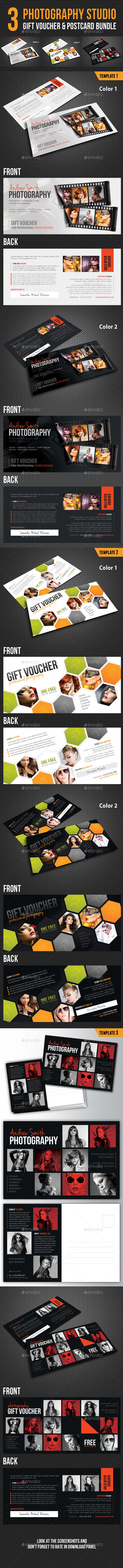 3 in 1 Photography Studio Gift Voucher Bundle 03 - Cards & Invites Print Templates