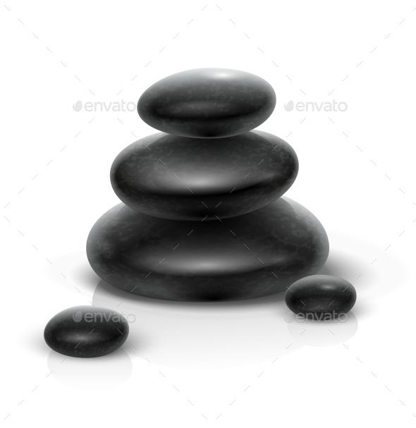 Spa Stones Black Heap - Organic Objects Objects