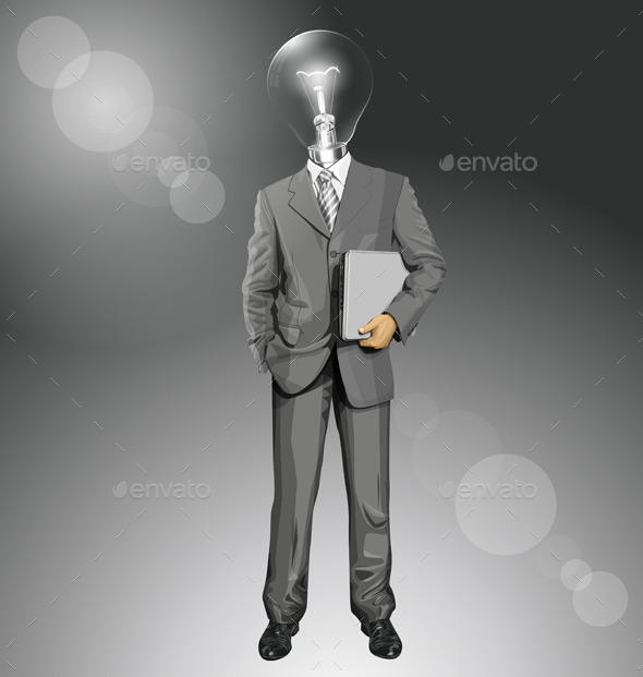 Vector Lamp Head Businessman With Laptop - People Characters