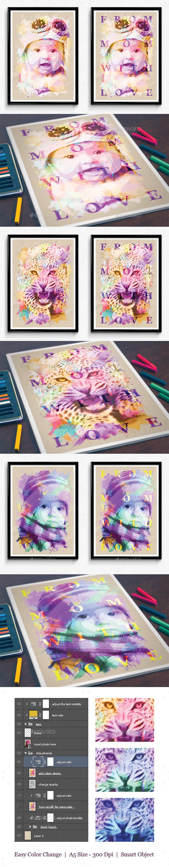 Watercolor Portrait Frame  - Photo Templates Graphics
