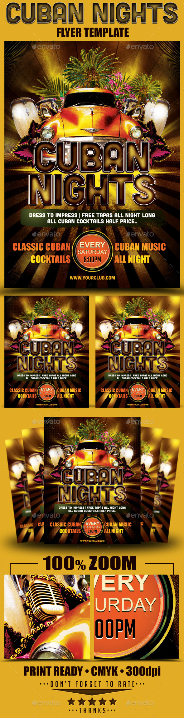 Cuban Nights Flyer Template - Clubs & Parties Events