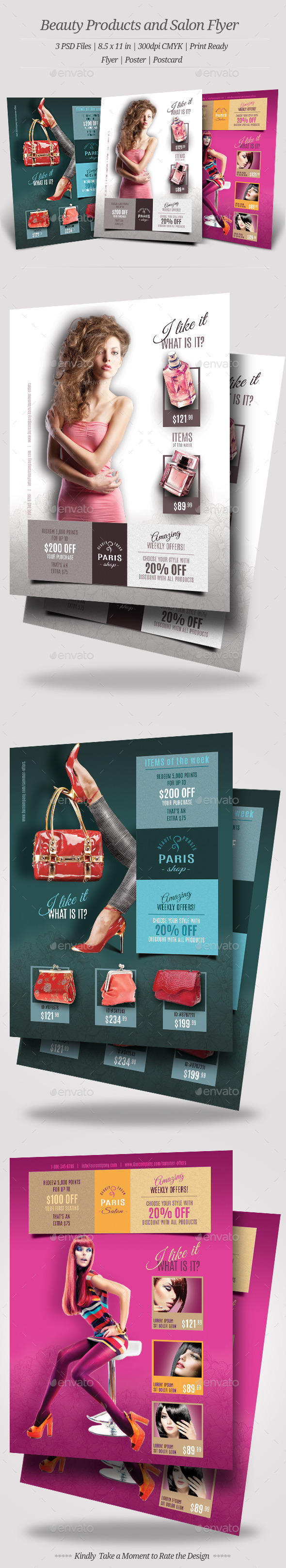 Beauty Products and Salon Flyers - Corporate Business Cards