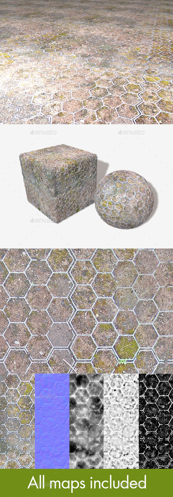 Moss Hexagons Seamless Texture - 3DOcean Item for Sale