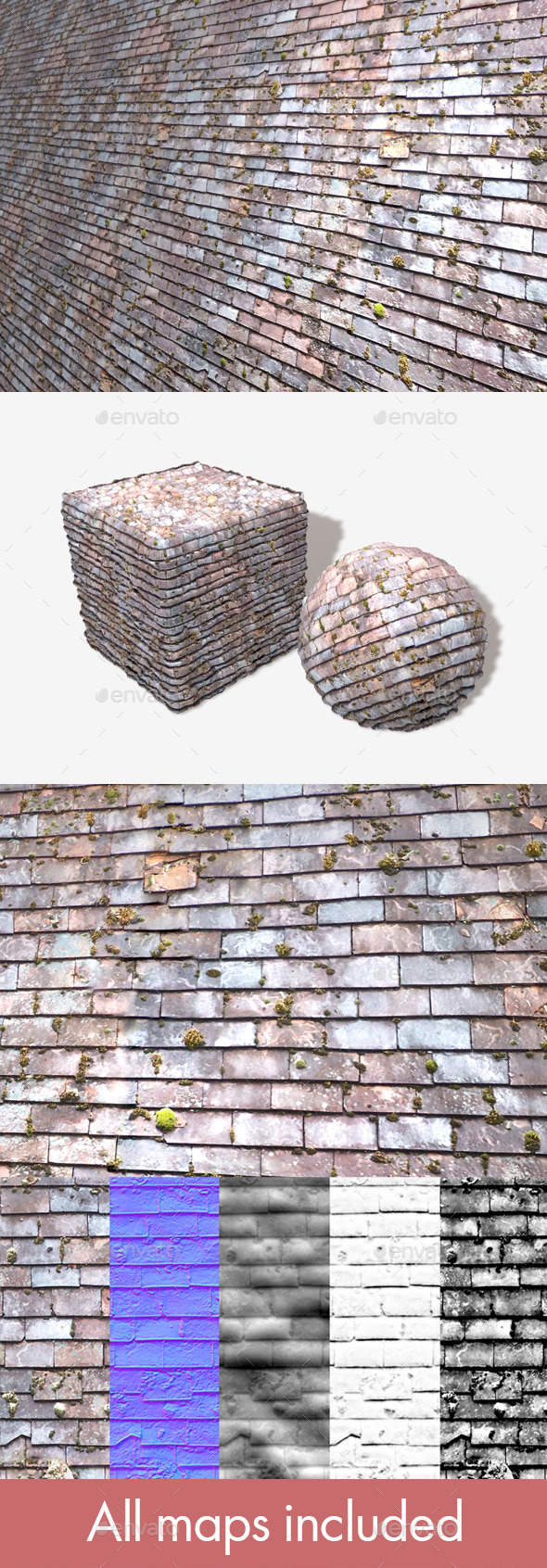 Old Mossy Roof Tiles Seamless Texture - 3DOcean Item for Sale