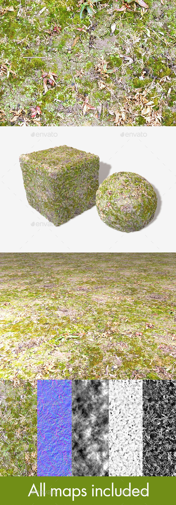Wet Moss Seamless Texture - 3DOcean Item for Sale