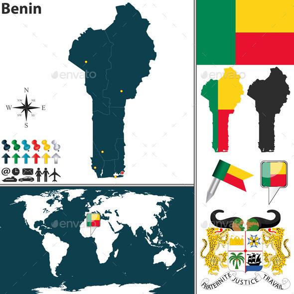 Map of Benin - Travel Conceptual