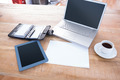 Diary with laptop and tablet on a desk in office - PhotoDune Item for Sale